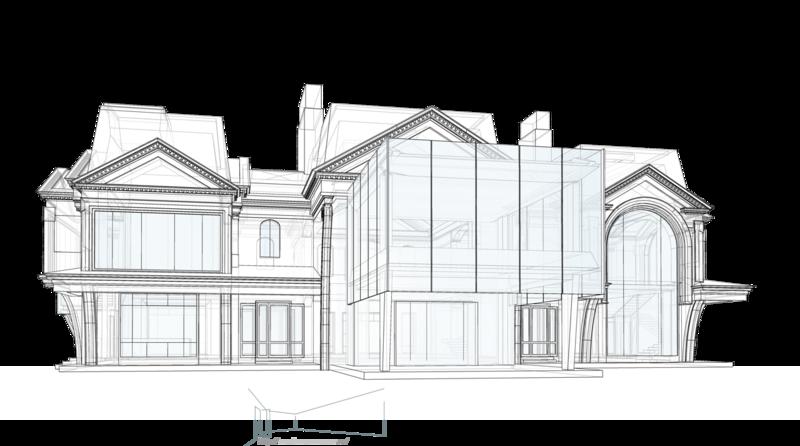 Нависание балконов второго этажа. Жилой дом 600 кв. метров, с классическими элементами убранства по фасадам. Арочные своды, классический стиль, широкое остекление, проект жилого дома коттеджа с классическими элементами отделки.