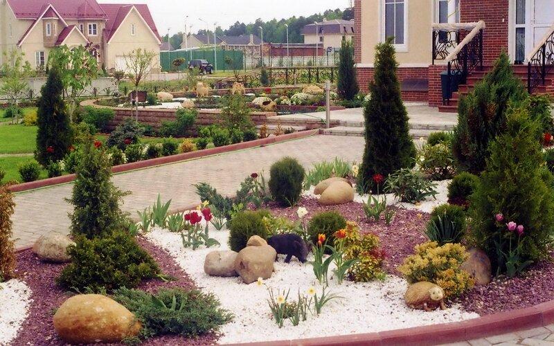 Фото ландшафтный дизайн участка коттеджа