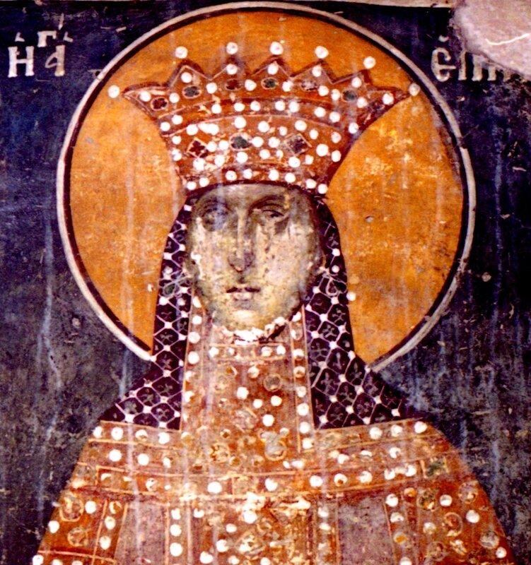 Святая Великомученица Ирина. Фреска церкви Св. Николая Орфаноса в Салониках, Греция. XIV век.