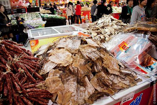 сушеные кальмары, еда в Китае