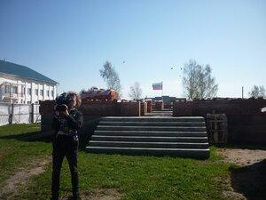 Съёмка Брянского телевидения. На строительстве православного храма в селе Рябчи.