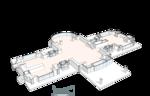 План первого этажа, Гостиная, полукруглая терраса с выходом в сад, кухня, столовая, гостевая спальня. Лестницы на второй этаж, группа входа