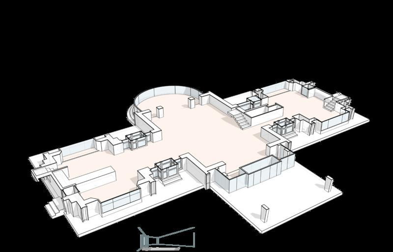 План первого этажа. Гостиная, полукруглая терраса с выходом в сад, кухня, столовая, гостевая спальня. Три лестницы на второй этаж, группа входа