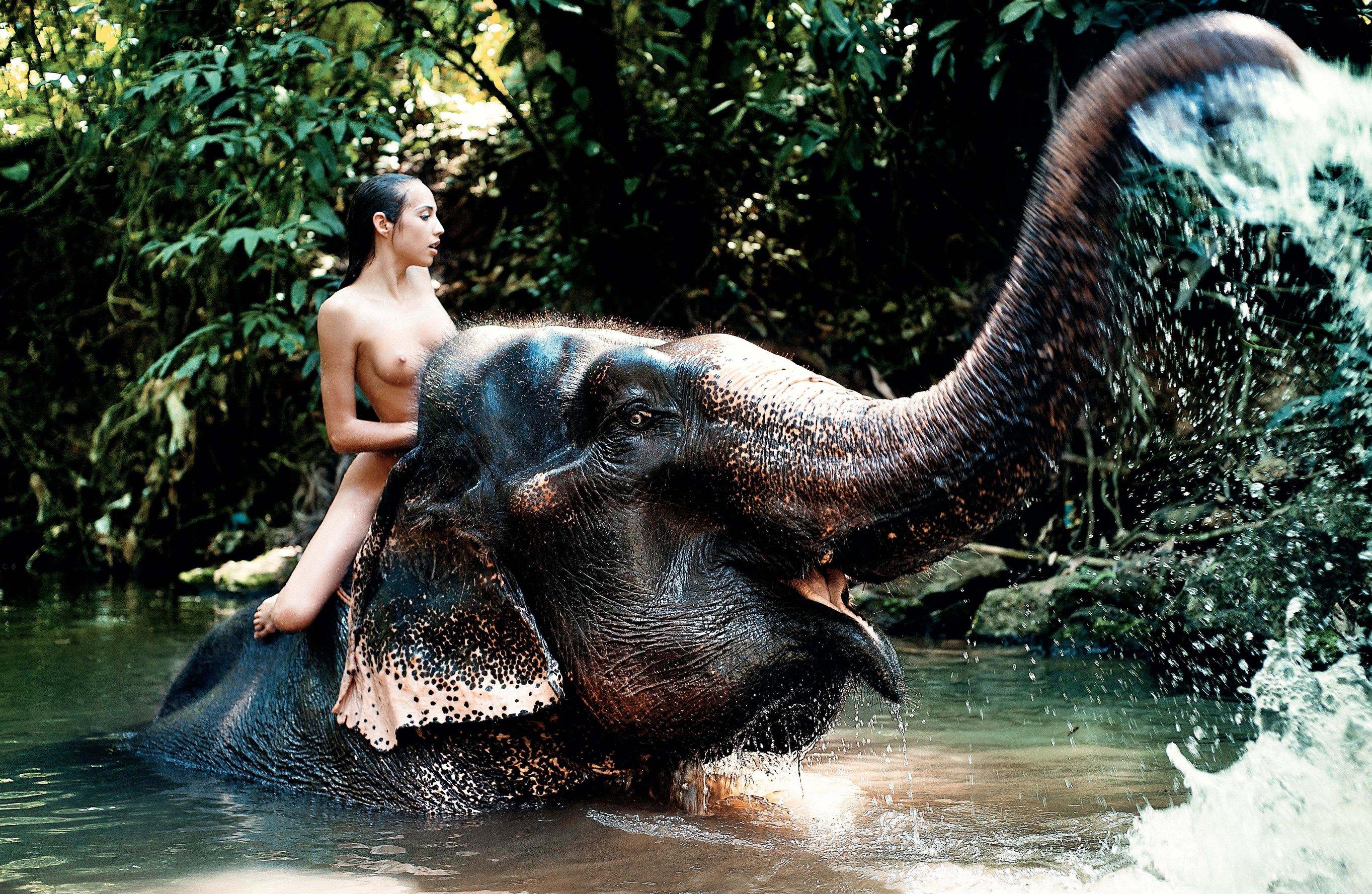 Девушка на слоне - Анастасия Дым, фотограф Андрей Разумовский в журнале XXL Россия, май 2012
