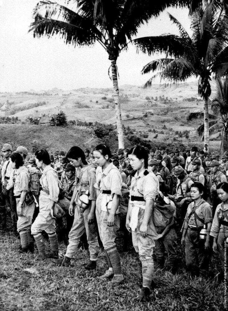японские медсестры и солдаты сдавшиеся в плен