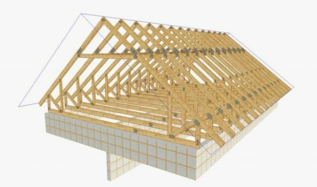 стропильная система двухскатной крыши.
