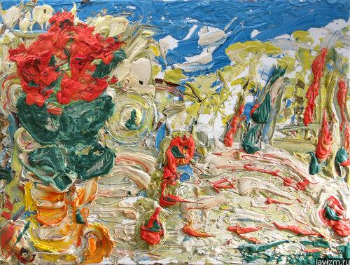 Картина Красная Азалия Абстракционизм Екатерина Лебедева художница