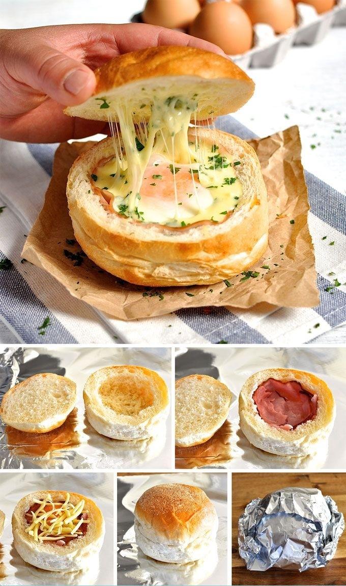2. Сэндвич с яйцом, беконом и сыром.