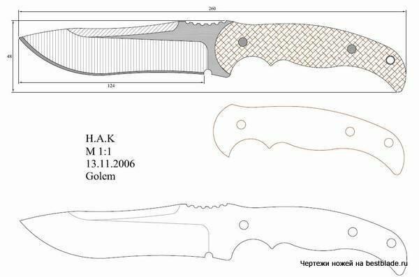 """Набор чертежей для самостоятельного изготовления ножей.Часть 3. """" БезпекаЮа-Обеспечение безопасности любой ценой в любой ситуаци"""
