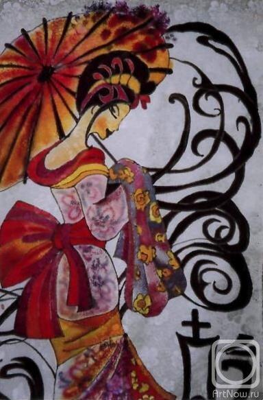 """Предпросмотр - Схема вышивки  """"Японка с зонтиком """" - Схемы автора  """"Marina22 """" - Вышивка крестом."""