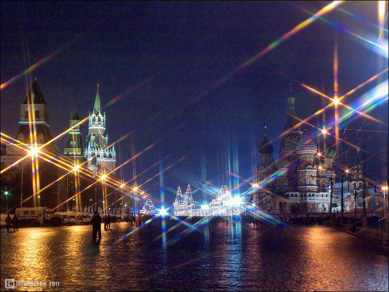 Ночная Москва, фотография ночной Москвы, Новый год на Васильевском спуске