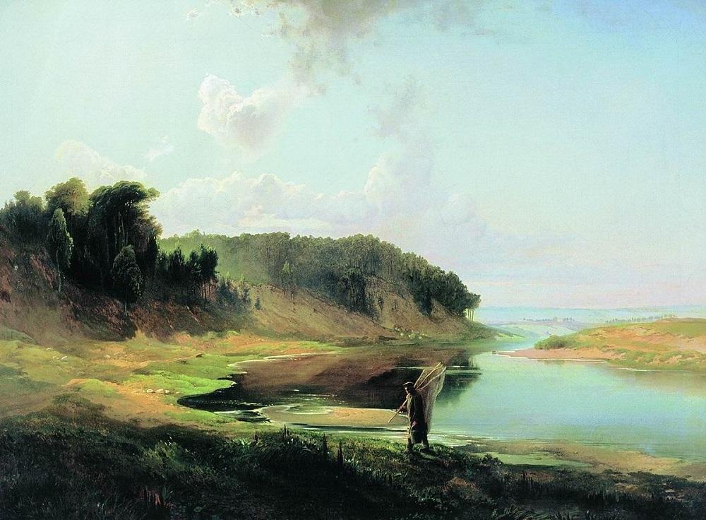 Пейзаж с рекой и рыбаком 1859 холст масло 59 х 82 см Национальный художественный музей Латвии, Рига.jpg