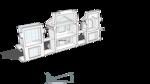 Разрез фронтальный , сечение по галлерее вдоль фасада
