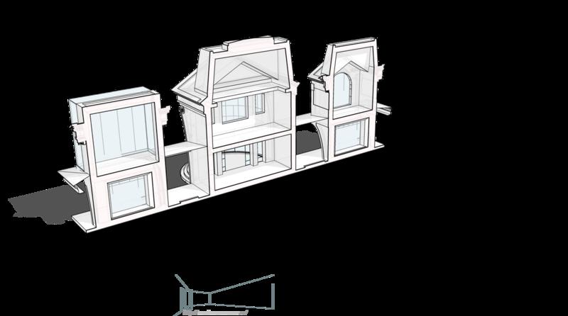 Разрез фронтальный, сечение по галерее вдоль фасада.