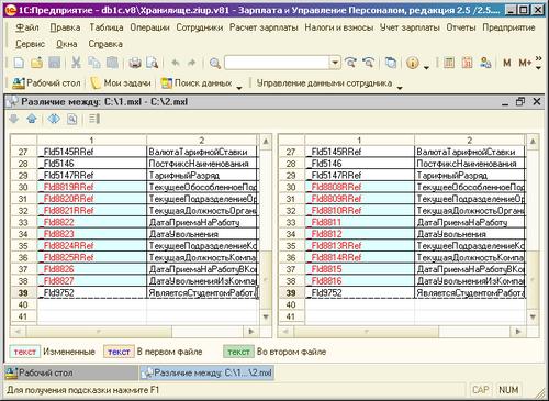 разница в наименованиях полей таблиц базы данных 1С