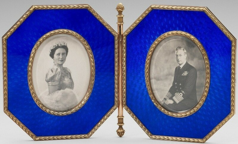 FabergéFrame holding photographs of George VI and Queen Elizabeth  1896 - 1908