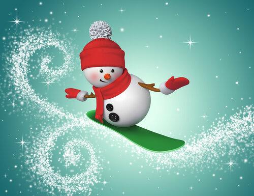 3d snowman snowboarding, winter sports illustration