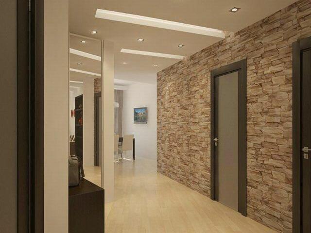 Отделка коридора искусственным камнем своими руками фото