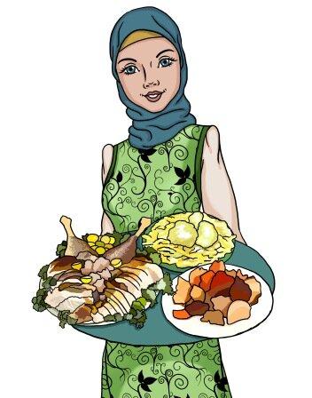Мусульманская девушка с подносом
