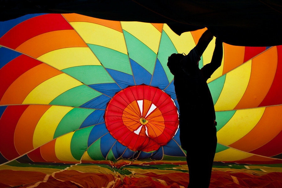 Doug Strickland inside hot air balloon