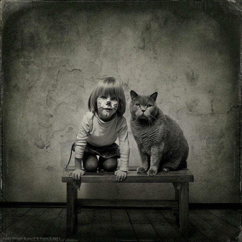 Фотосессия девочки и кота Тома