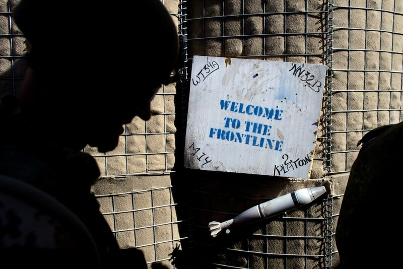 Afghanistan.<br />Indgangen til patruljebase Malvern på Patrol Baseline i Helmand.