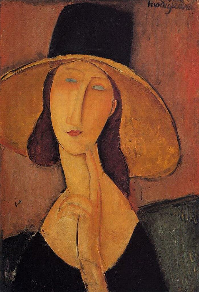 Модильяни,  Портрет женщины в шляпе (Жанна Эбютерн в большой шляпе). 1917