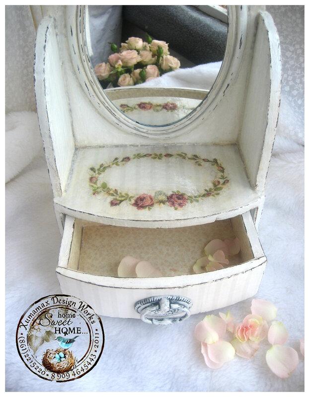 комплект дамский белый Шебби комодик-зеркало открытый.