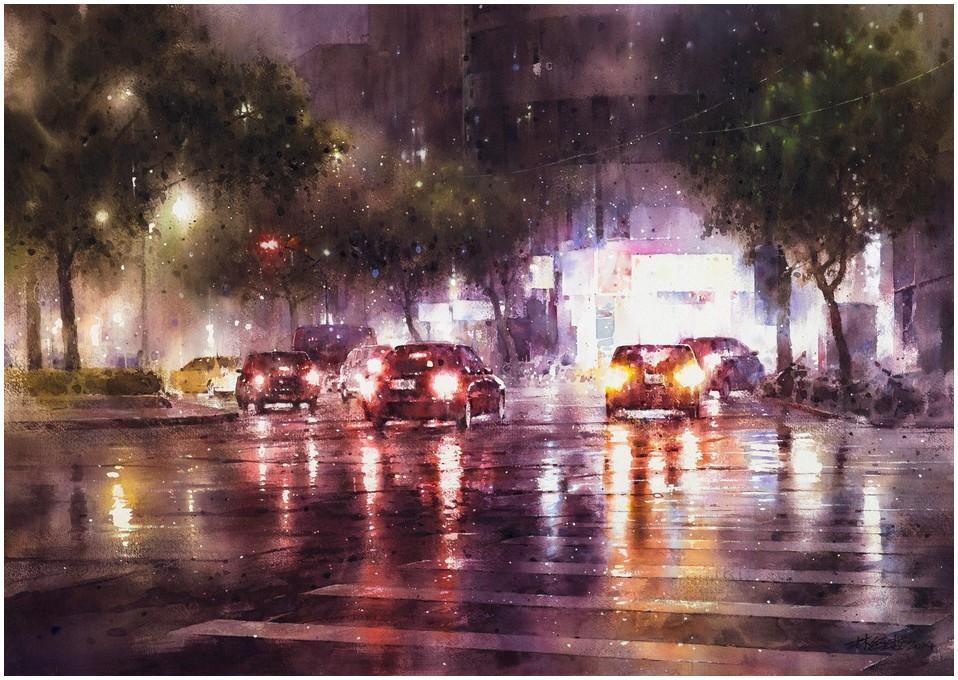Дождь на картинах Ching Che Lin