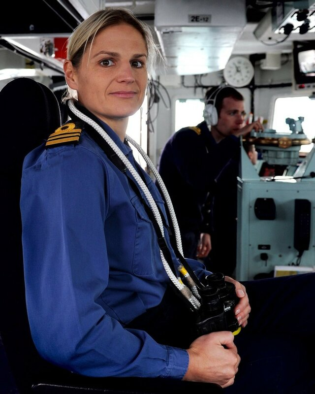 The first woman in the Royal Navy s history to command a major warship, Commander Sarah West, is seen on board HMS Shoreham