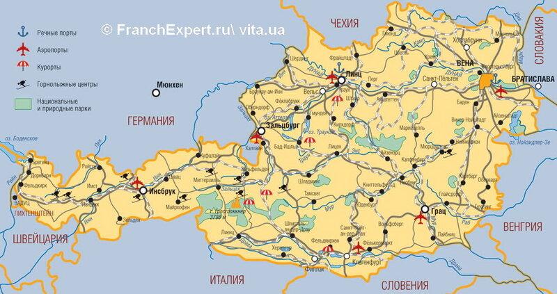 Карта Австрии достопримечательности курорты