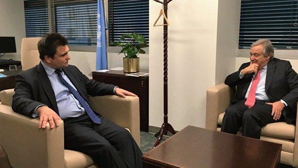 П.Климкин обсудил последующее сотрудничество сновоизбранным генеральным секретарем ООН