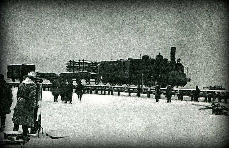 Свайная железная дорога через Неву в районе Шлиссельбурга
