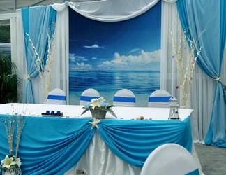Драпировка тканями тематическая свадьба Море