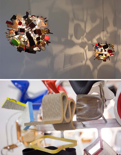 Потолочные светильники из миниатюрной мебели