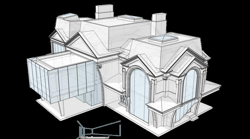 Особняк, проект жилого дома с арочным абрисом окон. Общий вид кровли, зенитные фонари.