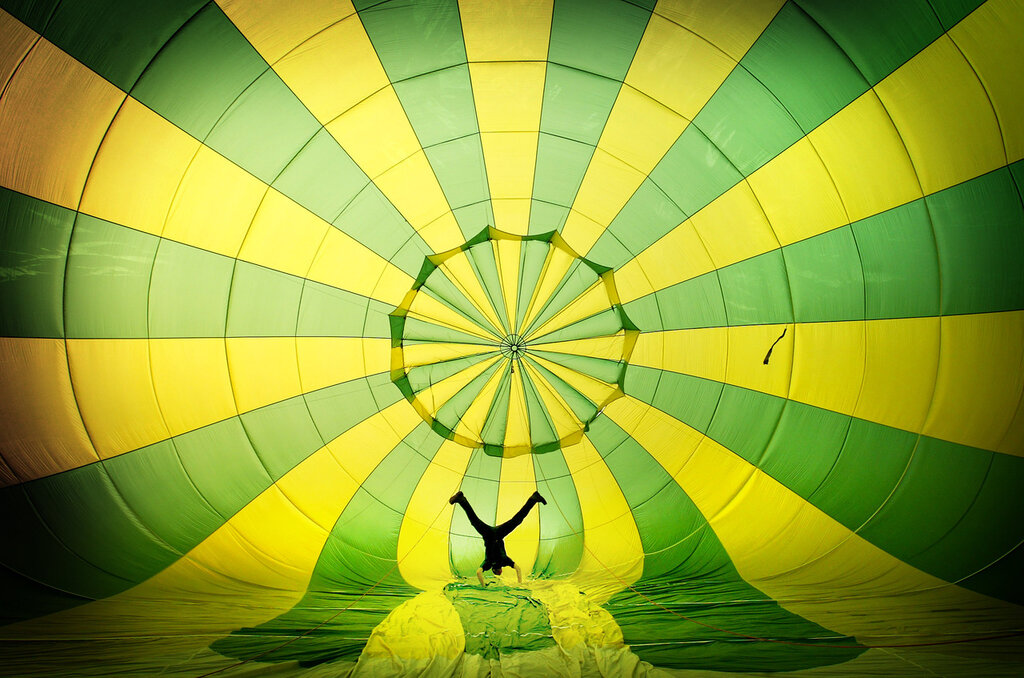 Nicole S. Young inside hot air balloon