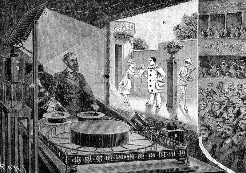 """...Рейно создал аппарат для проекции на экран движущихся изображений и организовал  """"Оптический театр """" - прообраз..."""