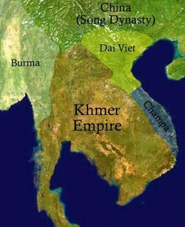 Карта Кхмерской Империи в XI-XII веках