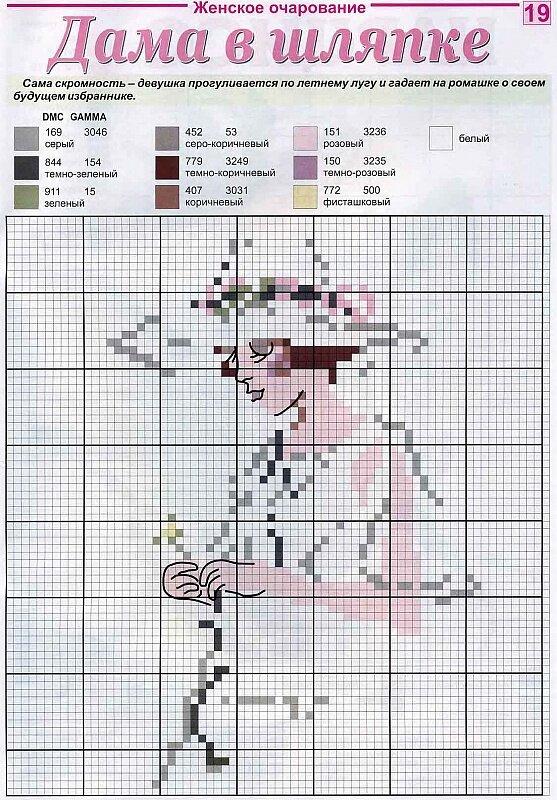 Дама в шляпке (вышивание) .