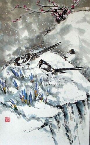 2014 03 04 Сороки и крокусы в снегу 80х50см.JPG