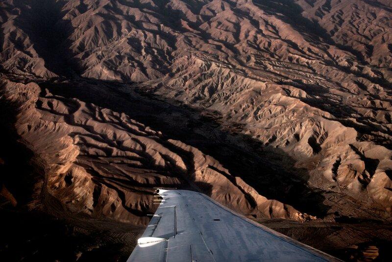 Afghanistan.<br />Indflyvning til Kabul med den danske hærs troppetransport fra Danmark