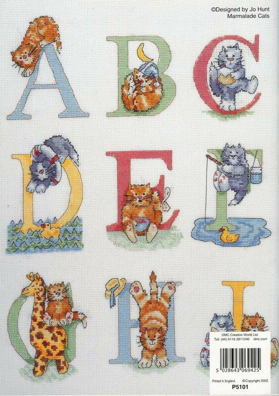 Вышивка Алфавит. схемы тут.  Красивый вышитый алфавит с котятами.