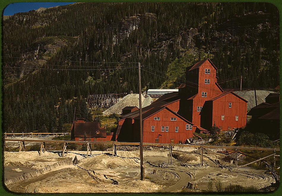 Mill at the Camp Bird Mine. Ouray County, Colorado, October 1940. Reproduction from color slide. Photo by Russell Lee. Prints and Photographs Division, Library of Congress