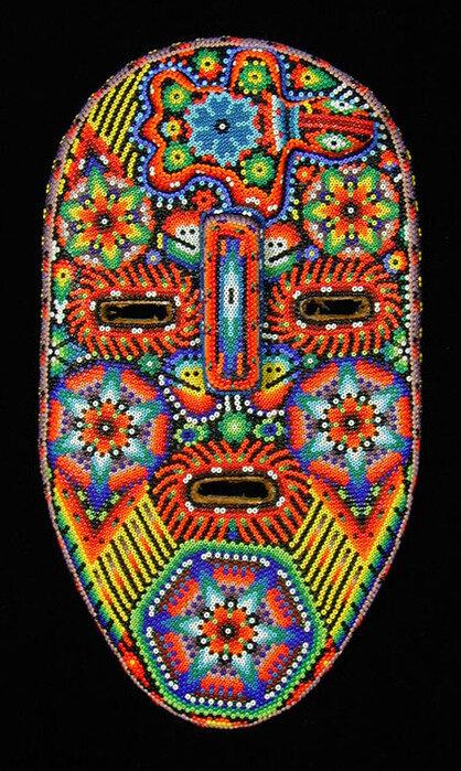 Huichol Beaded Mask (#hcm060) Huichol people, Nayarit, Mexico, c. 2004 Beads pressed into beeswax on wood mask...