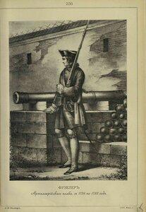 236. ФУЗЕЛЕР Артиллерийского полка, с 1728 по 1732 год.