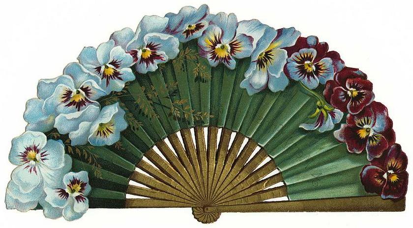 Д.рождения, открытка веером с цветами