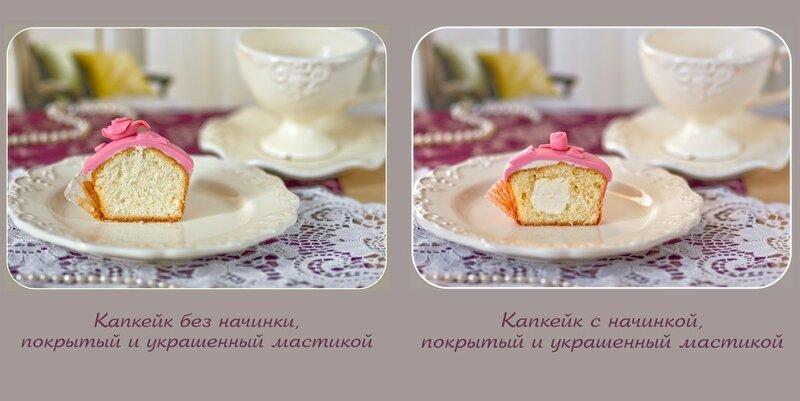 рецепт капкейков с фото пошагово с начинкой
