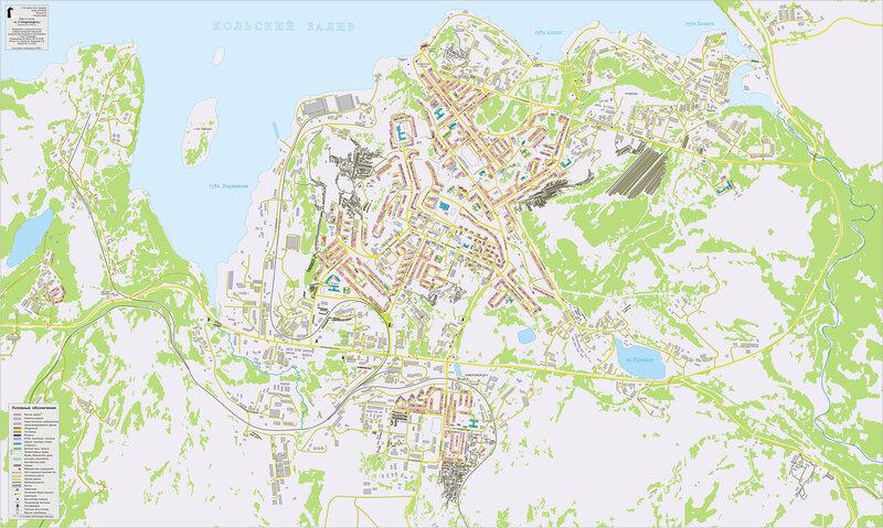 План-схема города Североморска.