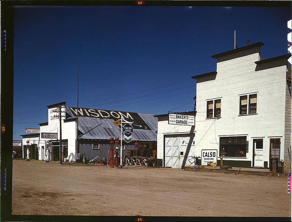Wisdom, Montana, April 1942. Reproduction from color slide. Photo by John Vachon. Prints and Photographs Division, Library of Congress